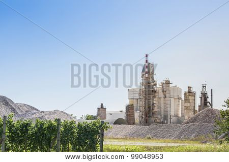 Cement Plant, With Vineyards In The Foreground