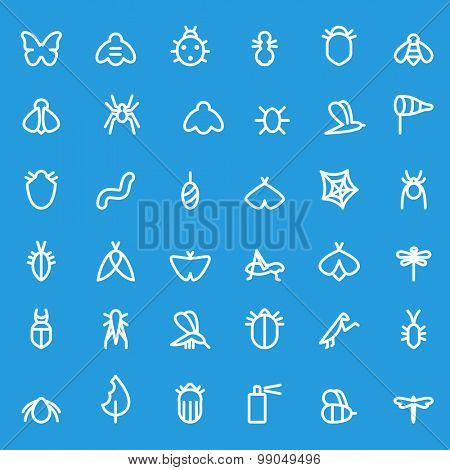 Insect icon set, simple and thin line design