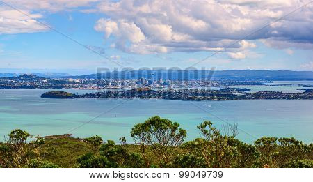 Aerial panoramic view of Auckland City downtown from Rangitoto Island mountain