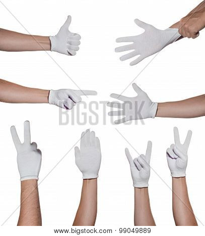 hands in glove making simbols isolated on white background