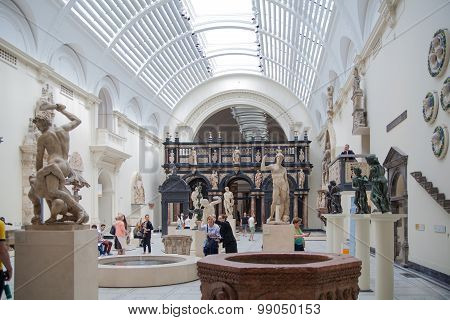 LONDON, UK - AUGUST 24, 2014: Exhibition hall of Victoria and Albert Museum. V&A Museum is the world