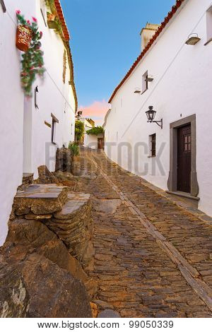 Europe, Portugal, Alentejo-View of the small village of Monsaraz at dusk.