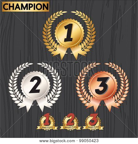 Set of award badges, Award decoration icon and laurel wreath