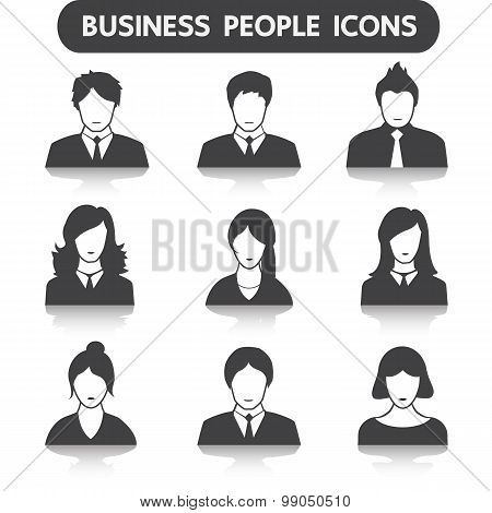 Male and female business people icon set