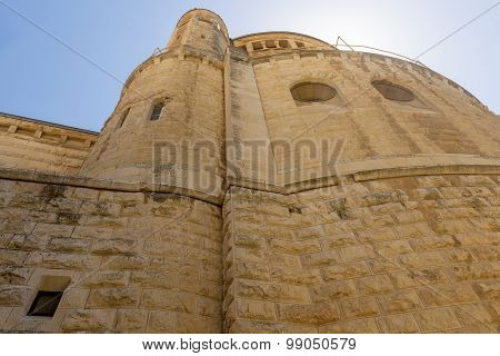 narrow streets of old Jerusalem. Church Cathedral