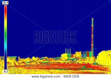 Infrared Image Chimney Of Energy Station
