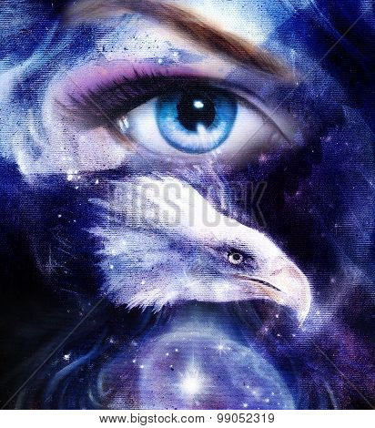 painting eagle with woman eye on abstract background  in space with stars. Wings to fly, USA Symbols