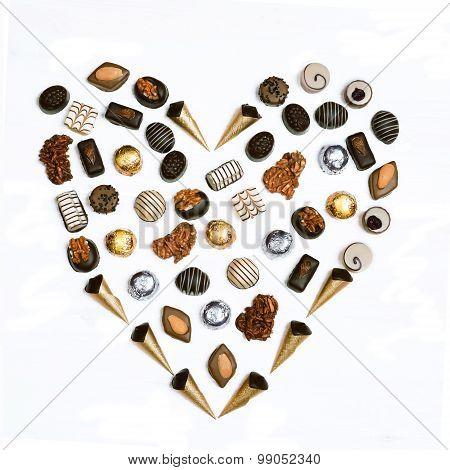 Heart Shape Chocolates Arranged.