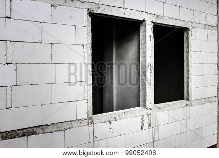 Hole Of Window In Cement Block In Construction Site