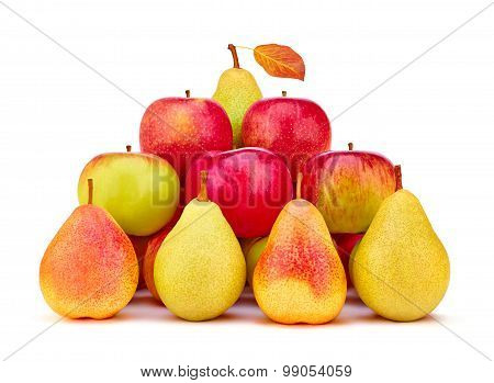 Fruits pears, apples organic fresh. Harvesting, wholesome food
