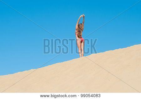 Girl In Red Bikini On Sandy Horizon
