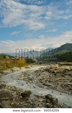 View Of River With Limestone In Pokhara, Nepal