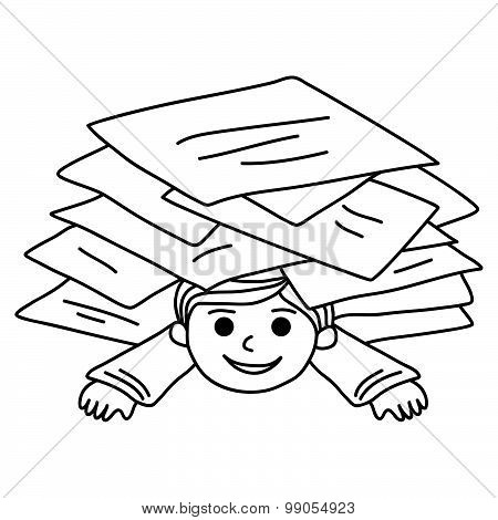 Happy Young Boy Littered With Paper Sheets