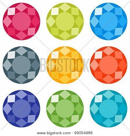 Flat Gems Icons Set