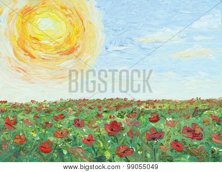 painting oil on canvas - The sun over poppy field