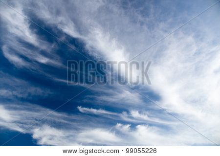 Wide View Of Blue Sky With Spreading Cirrus Clouds