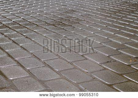 Shining Wet Rectangular Tiled Stone Pavement In Diagonal Layout