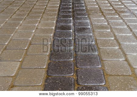 Decorative Stone Bricks, Dark And Light Tiles After The Rain