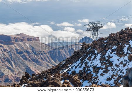 Aerial View From Volcano Teide On Cable Car And Mountains