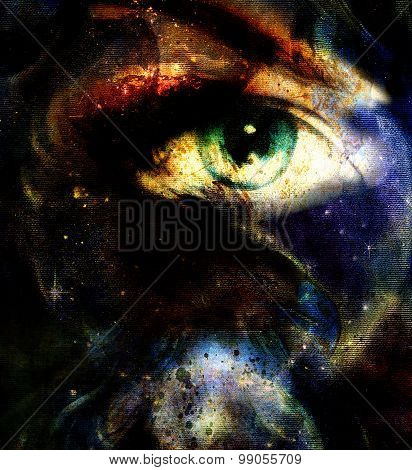 women eye abstract  painting in space and staes, make up