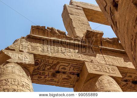 Detail Of Roof Temple Of Karnak,