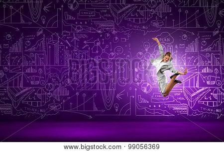 Funny image of running businesswoman on background of business plan