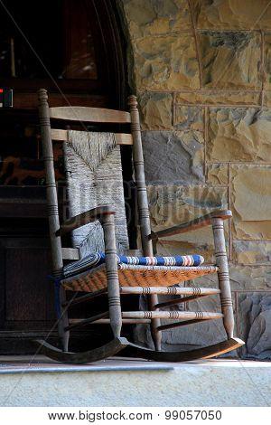 Adirondack rocking chair on stone porch
