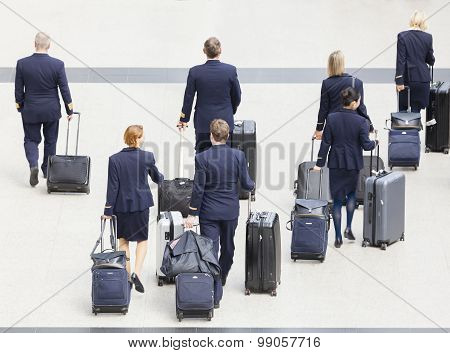 Cabin crew at an airport