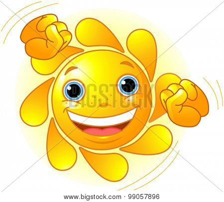 Cute and shiny Sun dancing in the sky