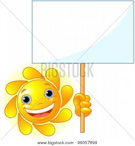 Cute Sun shows a blank sign