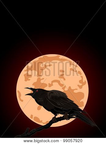 Illustration of Halloween Crow against a full moon