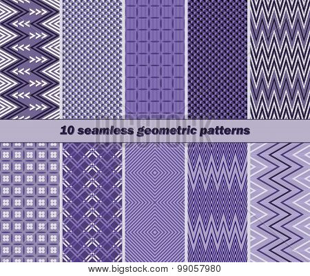 10 Seamless Geometric Patterns In Violet Color