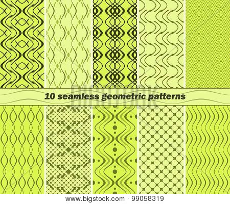 10 Seamless Abstract Geometric Patterns In Lime And Green Colors