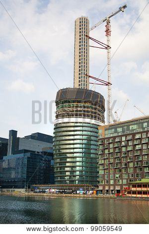 LONDON, UK - May 21, 2015: One of the tallest apartment buildings in London in construction progress
