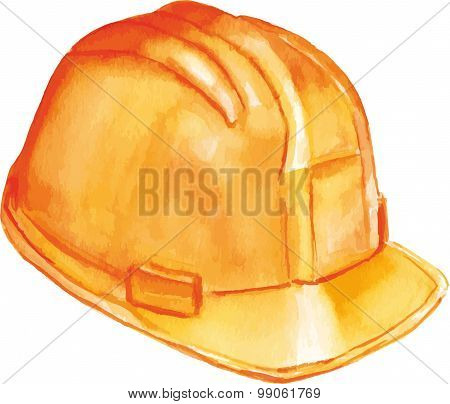 Watercolor drawing of a yellow hard hat, scalable vector drawing