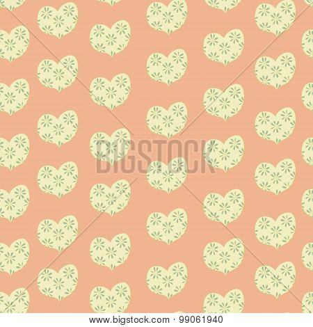 heart in a floret seamless pattern. valentines day vector background