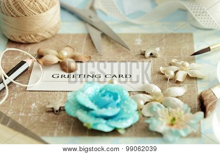 scrap booking - making of greeting card