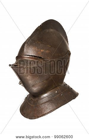 Antique Helmet For A Knight Original Isolated On White