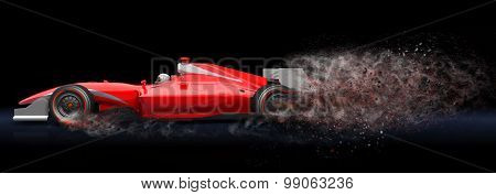 Red Sport Car With Trail Of Dust