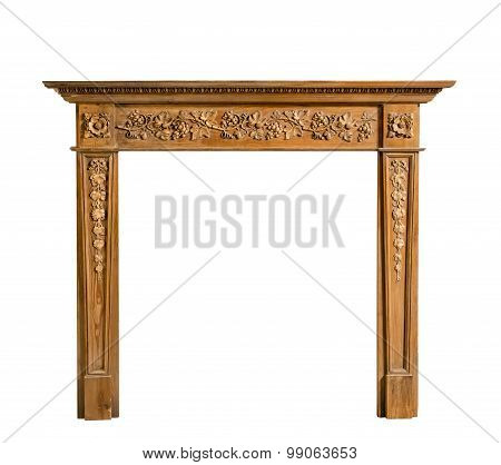 Antique Pine Fireplace Surround With Carving Isolated On White