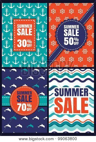 Set Of Vector Summer Sale Design. Seamless Abstract Patterns And Backgrounds With Anchor, Dolphin, W