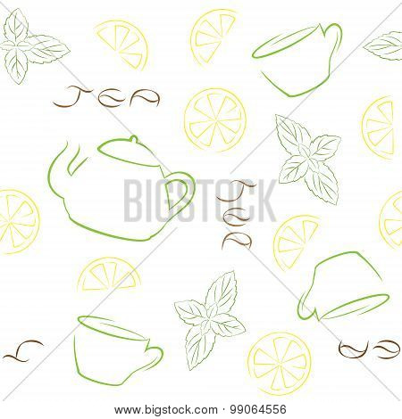 Tea Seamless Pattern With Kettle, Cups, Lemon And Mint On White Background.