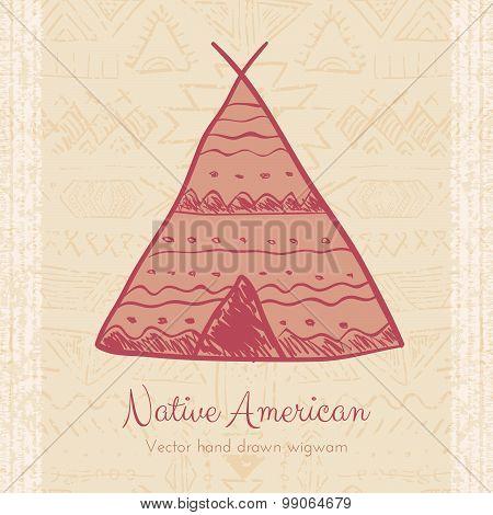 Vector Indian Wigwam Tribal Background