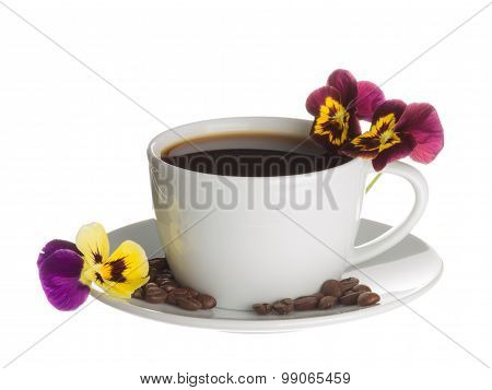 Coffee Cup And Pansies