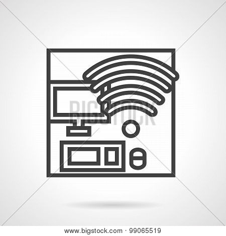 Coworking workplace vector icon