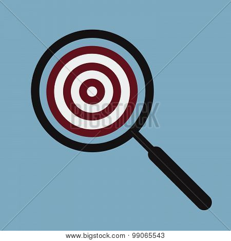 Target Goal With Magnifying Glass