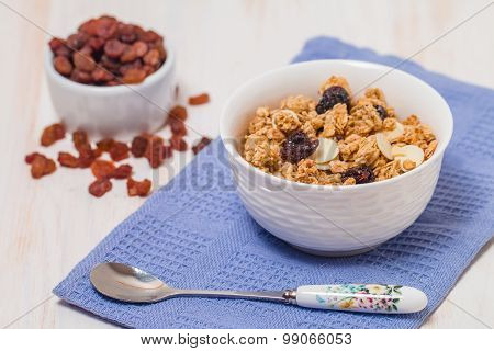 Granola, Honey, Nuts And Raisins
