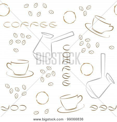 Coffee Seamless Pattern With Coffee Beans, Turk And Cups On White Background.
