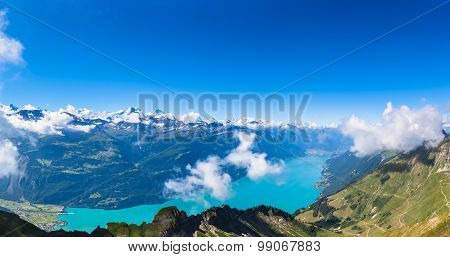 Panorama View Of Brienz Lake And The Alps