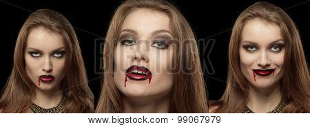 Close-up portrait of a pale gothic vampire woman